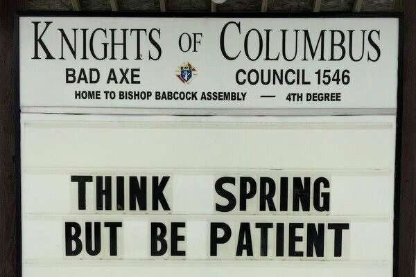 The Bad Axe Knights of Columbus has received some positive comments regarding its sign's humorous message. (Submitted Photo)