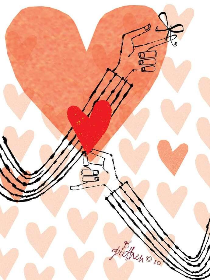 This artwork by Donna Grethen relates to Valentine's Day. Photo: Donna Grethen