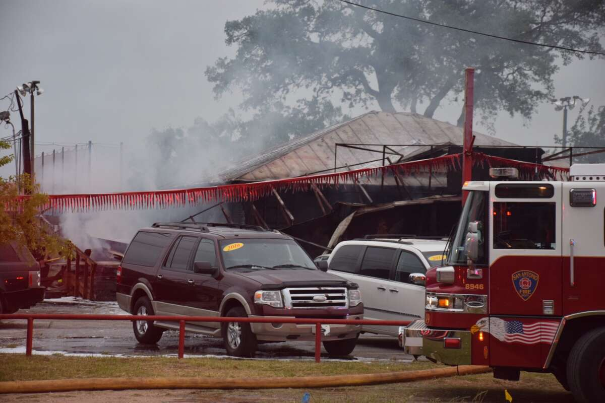 A San Antonio business and two vehicles were destroyed in a fire in the 7900 block of Bandera Road on Wednesday, April 18, 2018.
