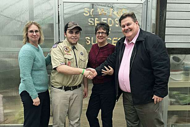 Brian Bertucio of Troop 26 is building rolling planters for Ädelbrook as his Eagle Scout Project. He presented a check for $436 that he raised which was leftover from his project. Shown, from left, are Michelle Andrews, director of education, Ädelbrook Learning Center, Cromwell; Bertucio, Sharon Graves, director of community engagement, Ädelbrook; and Dale Hoyt, vice president for education at Ädelbrook.