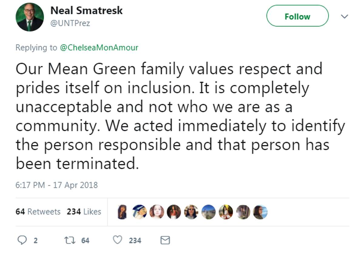 A student cook at the University of North Texas has been fired after he typed a racial obscenity on a customer's receipt. The tweet prompted a swift response from the university's president Neal Smatresk. Swipe through to see other race-related incidents in Texas.