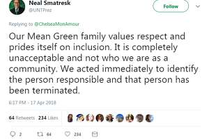 A student cook at the University of North Texas has been fired after he typed a racial obscenity on a customer's receipt. The tweet prompted a swift response from the university's president Neal Smatresk.