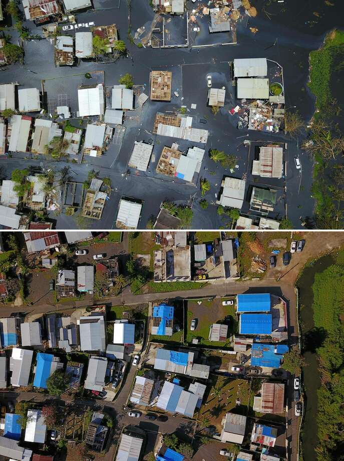 Hurricane Maria: Six months later This combo of photos made on March 19, 2018 shows (above) an aerial view of the flooded neighborhood of Juana Matos in the aftermath of Hurricane Maria in Catano, Puerto Rico, on September 22, 2017 and (below) An aerial view of Juana Matos neighborhood six months after Hurricane Maria in Catano, Puerto Rico, on March 18, 2018. Six months after Hurricane Maria hit the island on September 20, 2017 uprooting trees, destroying homes, and causing widespread flooding, many remain without power. Photo: RICARDO ARDUENGO/AFP/Getty Images
