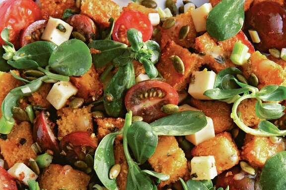 "The succulent purslane is the star of this Tex-Mex Cornbread Salad from ""Saladish"" by Ilene Rosen."