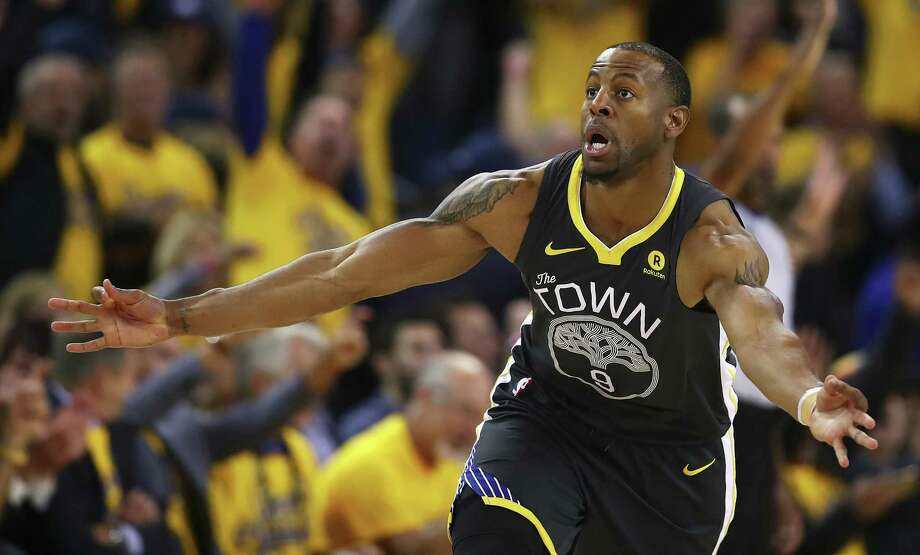 Golden State Warriors' Andre Iguodala celebrates a score against the San Antonio Spurs in the second half in Game 2 of a first-round NBA basketball playoff series, Monday, April 16, 2018, in Oakland, Calif. Golden State won 116-101. (AP Photo/Ben Margot) Photo: Ben Margot, STF / Associated Press / Copyright 2018 The Associated Press. All rights reserved.