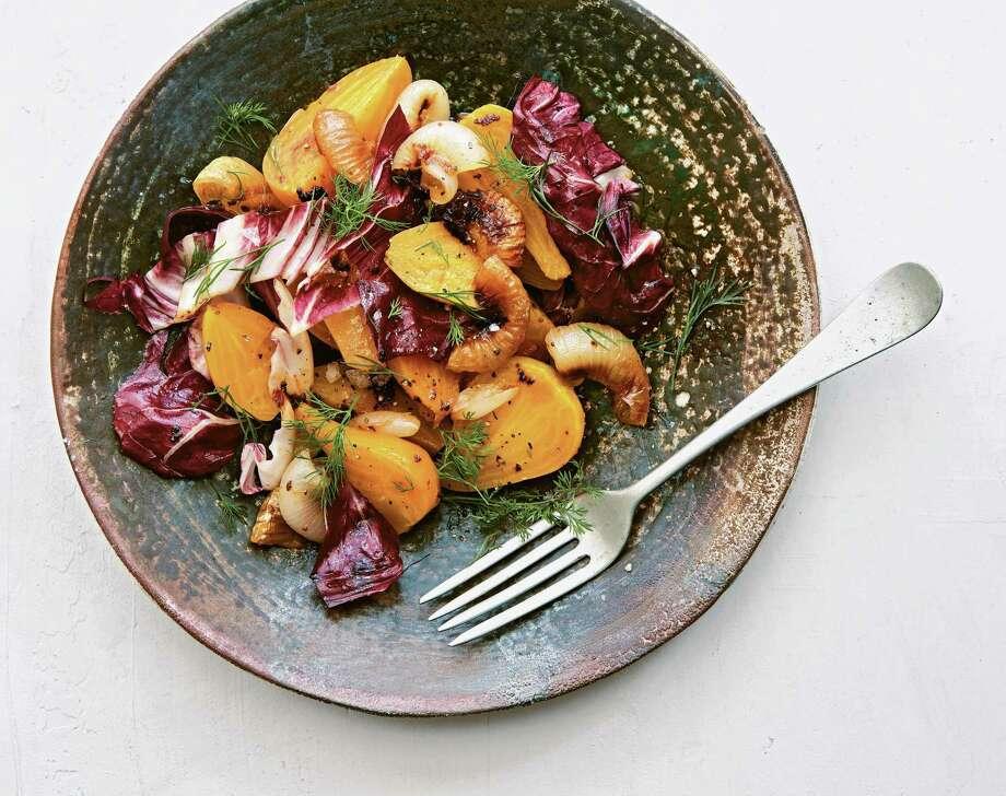 "Yellow Beets and Harissa Onions from ""Saladish"" by Ilene Rosen. Photo: Joseph De Leo / Artisan Books"