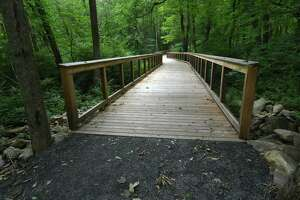 A boardwalk keeps people above an area of wetlands on the Norwalk River Valley Trail along the Wilton Loop portion on Tuesday July 25, 2017 in Wilton Conn.
