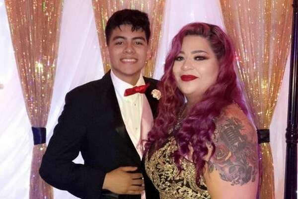 Joe Moreno, 18, and his mother Vanessa Moreno at the Collegiate High School prom in Corpus Christi on April 13, 2018.