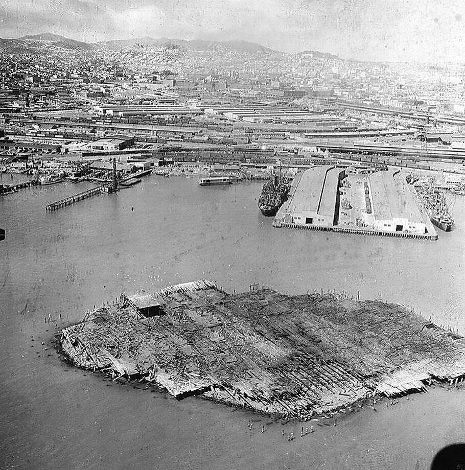 A 1950s aerial view of Mission Rock Terminal and South Beach, what would become McCovey Cove and one of the state's top redevelopment projects. Photo: California Historical Society