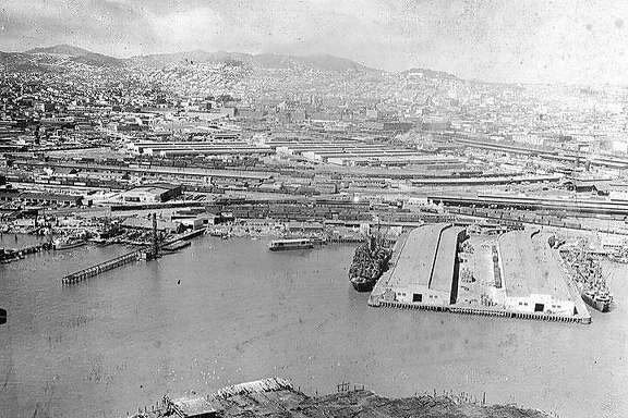 1950s aerial view of Mission Rock Terminal and South Beach, what would later become McCovey Cove and one of California's most successful redevelopment projects.