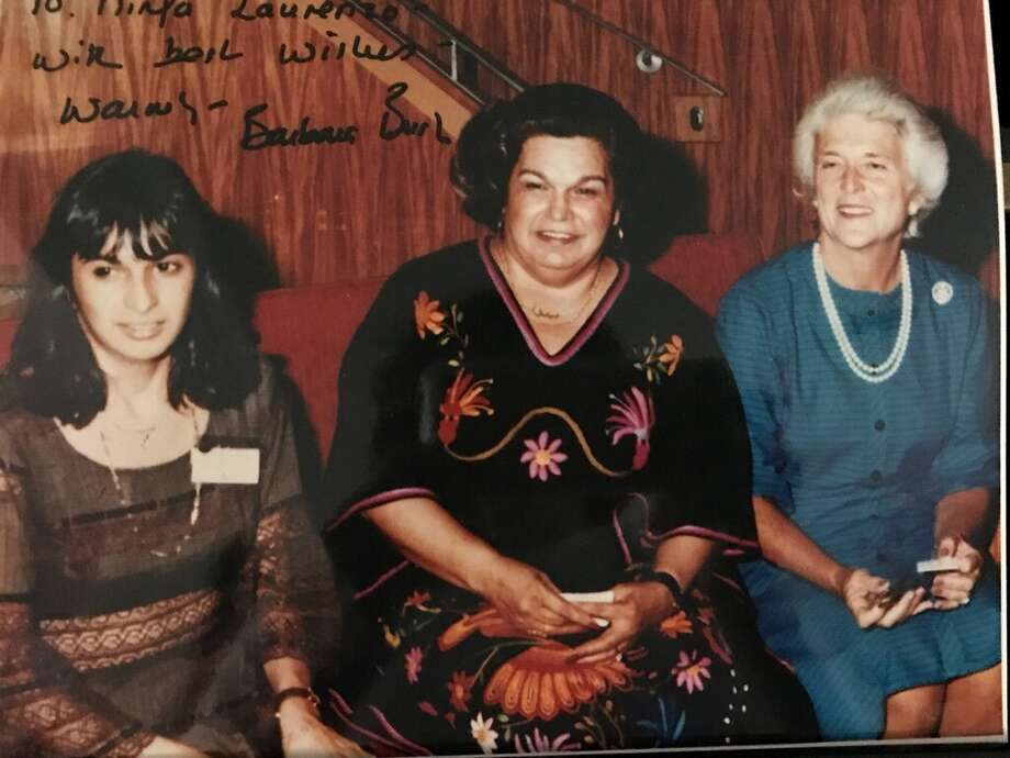 Barbara Bush with the late Mama Ninfa Laurenzo and Phyllis Laurenzo Mandola, left. According to Phyllis, whose mother was the legendary restaurateur Mama Ninfa, Mrs. Bush enjoyed tacos al carbon and cheese enchiladas at the Original Ninfa's on Navigation. Photo: Phyllis Mandola