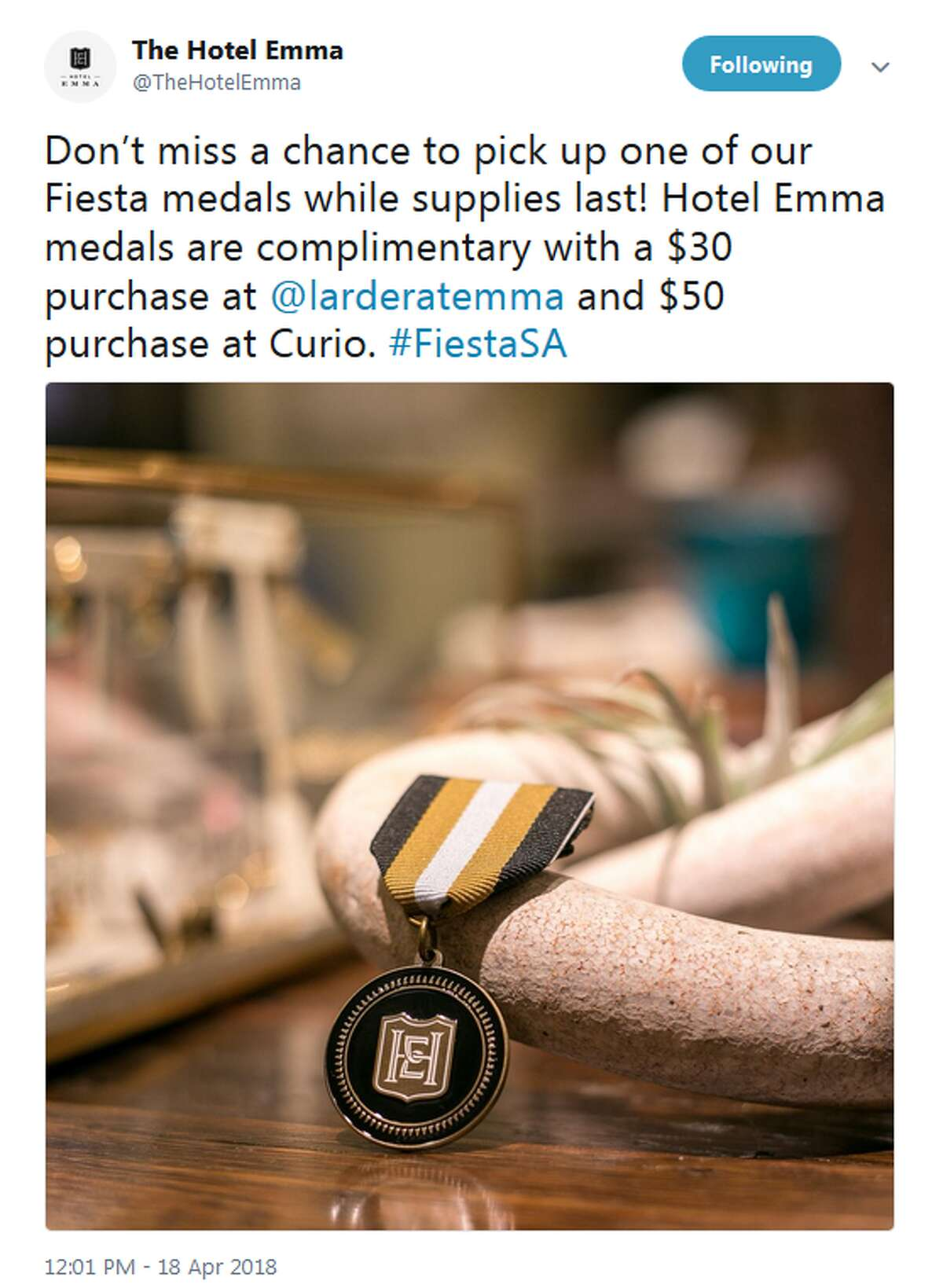 Hotel Emma will give away their medals to customers who spend $30 at Larder or $50 at Curio.