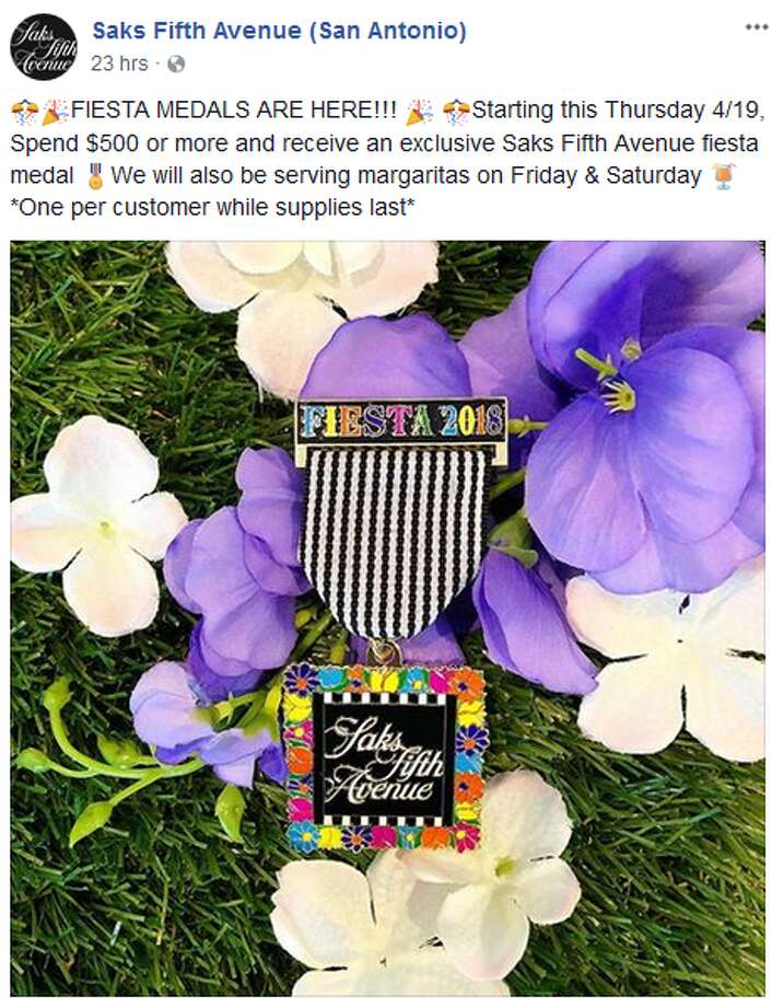 Saks Fifth Avenue is offering San Antonio shoppers the chance to receive their complimentary medal if they spend $500. Photo: Twitter.com