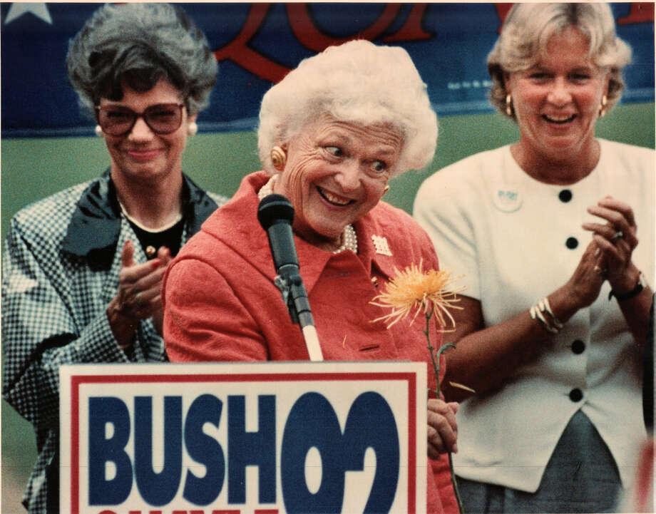 Barbara Bush, campaigning for her husband in Sept. 1992, visited Muzzy Field in Bristol.