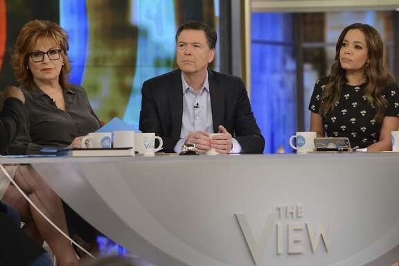 """This photo provided by ABC, former FBI Director James Comey appears on the daytime talk show """"The View,"""" Wednesday, April 18, 2018 in New York.  (Lorenzo Bevilaqua/ABC via AP)"""