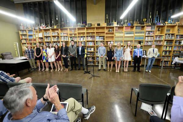 Midland Classical students are recognized for their Mastery with Honors projects April 17, 2018, at MCA. James Durbin/Reporter-Telegram