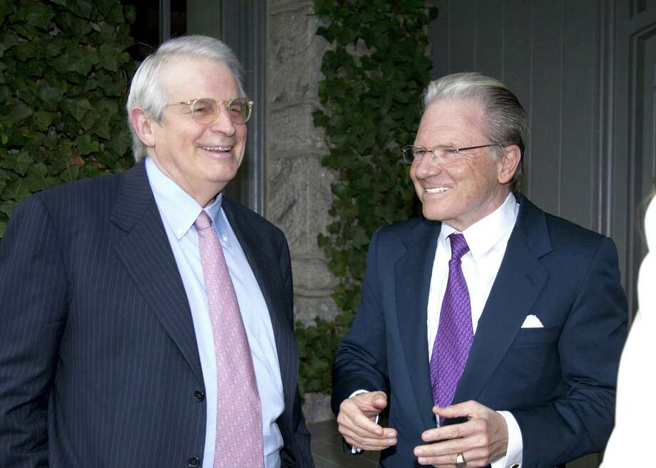 Interactive Brokers CEO Thomas Peterffy, right, in 2011 in Greenwich, Conn., alongside David Stockman. Photo: Contributed Photo / Greenwich Time / Greenwich Citizen