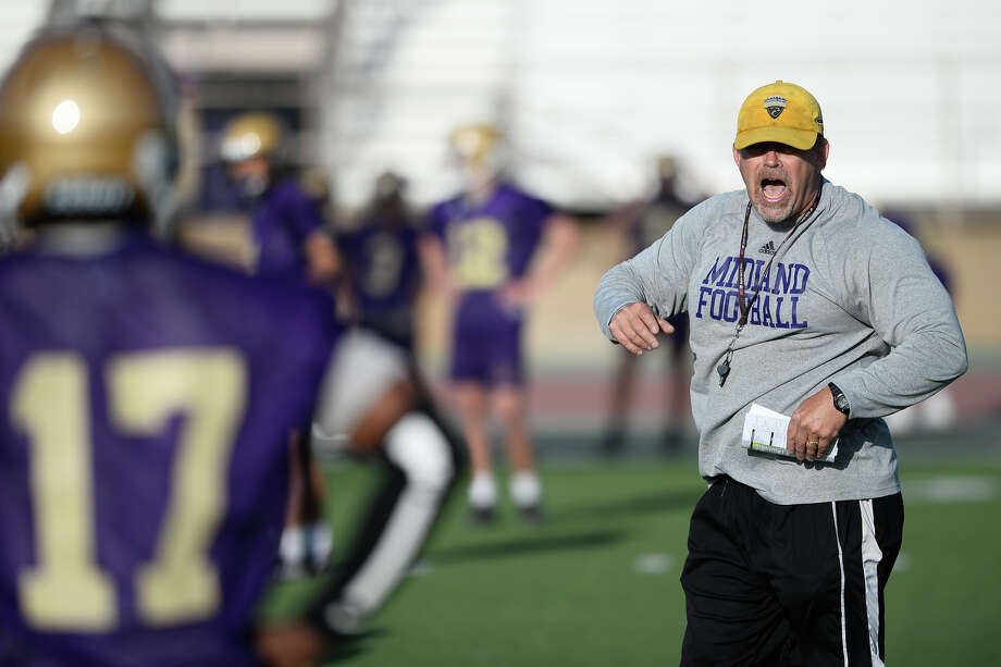 Midland High head football coach Tim Anuszkiewicz on the field for the first day of spring practice April 18, 2018, at Memorial Stadium. James Durbin/Reporter-Telegram Photo: James Durbin