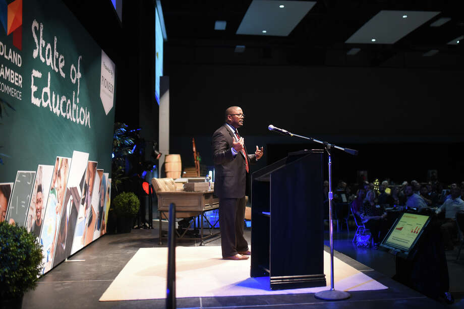 MISD Superintendent Orlando Riddick speaks during the State of Education luncheon April 18, 2018, at Horseshoe Pavilion.  James Durbin/Reporter-Telegram Photo: James Durbin