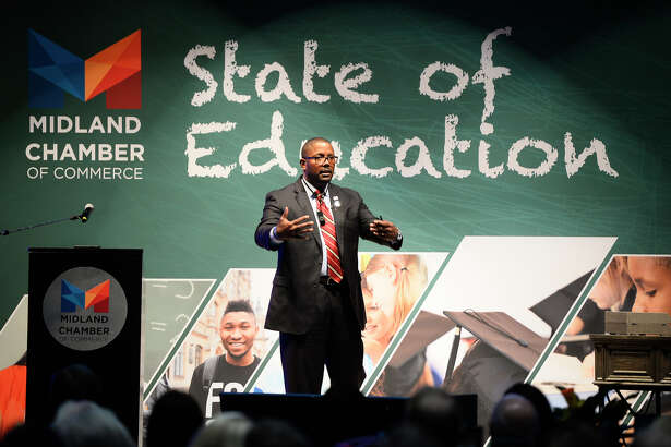 MISD Superintendent Orlando Riddick speaks during the State of Education luncheon April 18, 2018, at Horseshoe Pavilion.  James Durbin/Reporter-Telegram