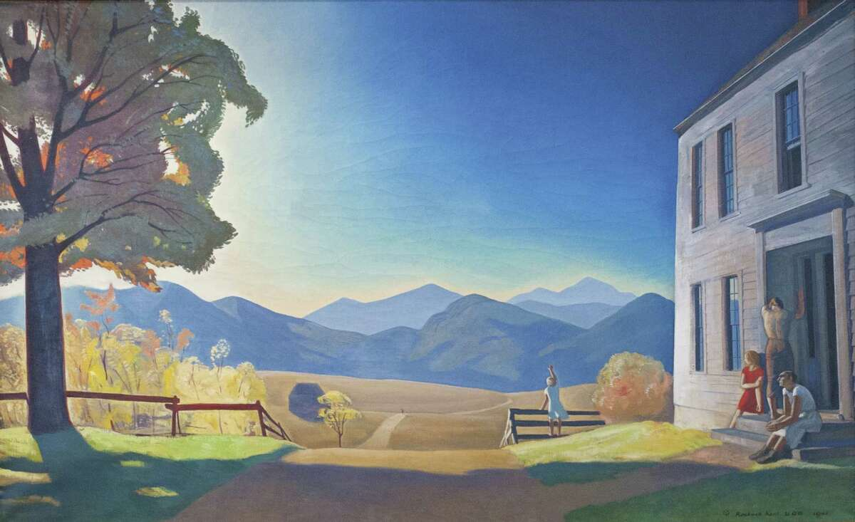 Rockwell Kent (American, 1882-1971), December Eighth, 1941, oil on canvas, 43 1/2 x 71 1/2 in. Plattsburgh State Art Museum, State University of New York, Bequest of Sally Kent Gorton. (PSAM 78.1.17) (Provided, Hyde Collection)
