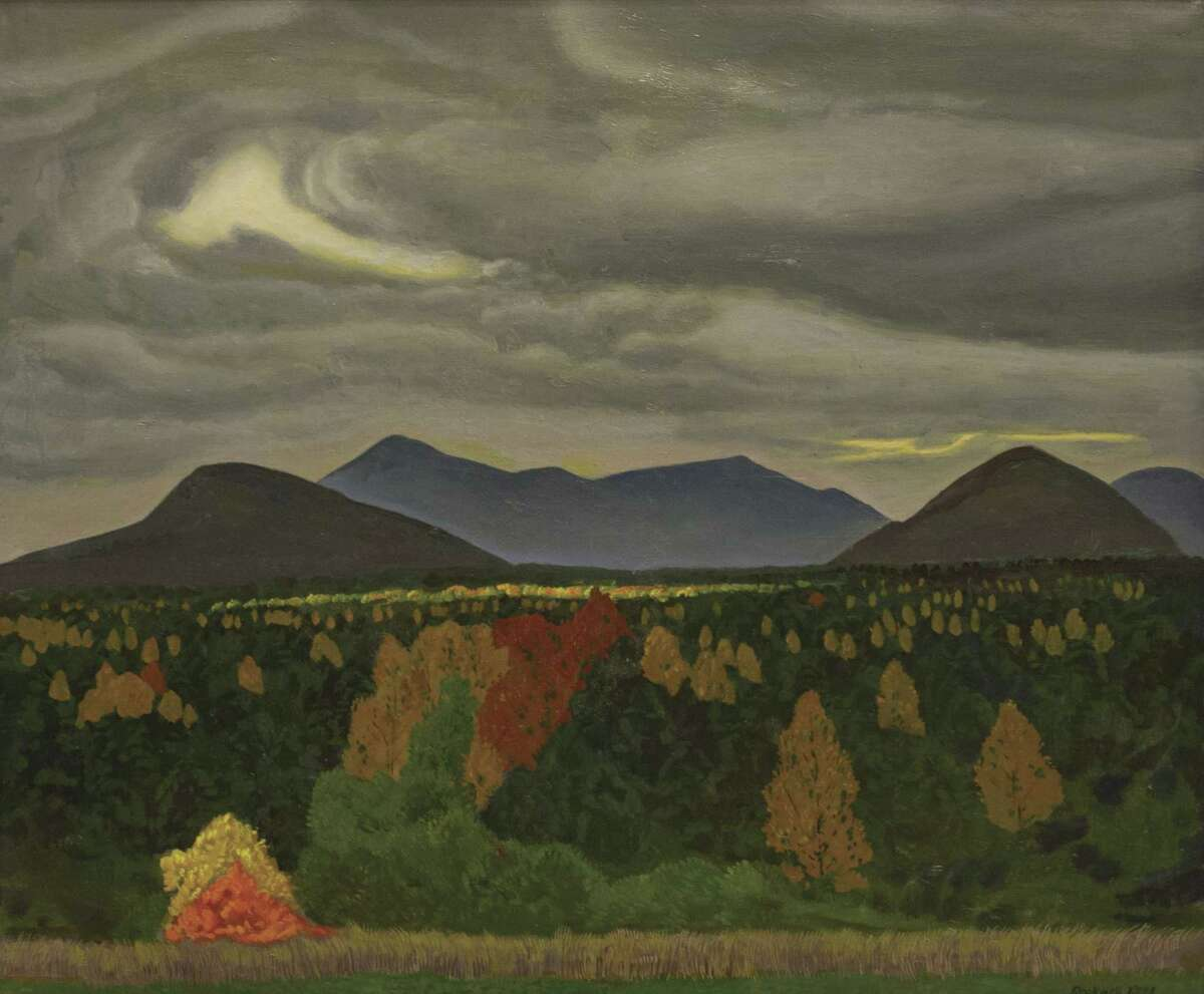 Rockwell Kent (American, 1882-1971), AuSable Valley, View of Whiteface, Fall, ca. 1955, oil on canvas, 28 x 34 in. Plattsburgh State Art Museum, State University of New York, Bequest of Sally Kent Gorton. (PSAM AS 27) (Provided)