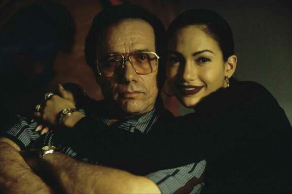 "Edward James Olmos and Jennifer Lopez star in ""Selena."""