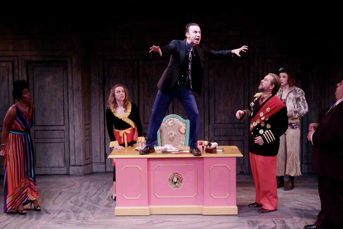 """Brittny Bush as Anna, Bonnie Langthorn as Marya, Dain Geist as Khlestikov, Tom Long as the Governor, Lindsay Ehrhardt as Bobchinsky, Benito Vasquez as Artemy in the Classical Theatre Company's production of """"The Government Inspector."""""""
