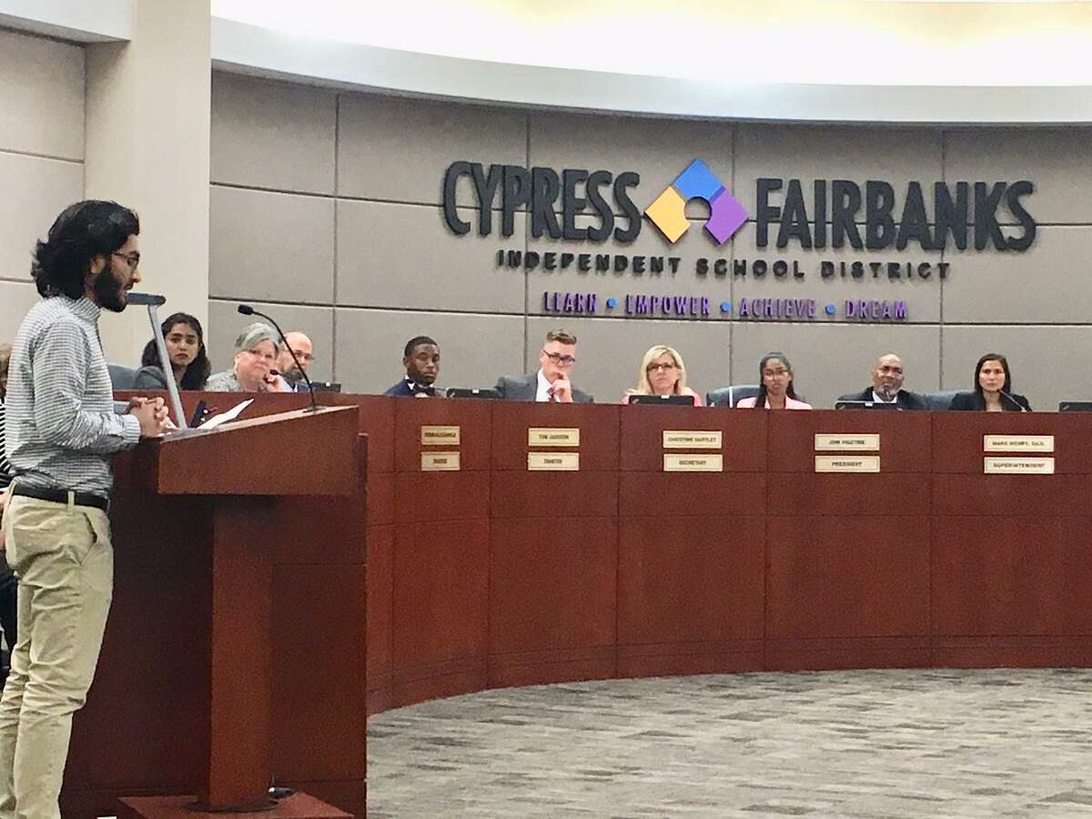 Wasiq Javed, Cypress Lakes High School senior, addressing the Cy-Fair ISD board of trustees and student board shadows on Monday, April 16 at the Instructional Support Center. Javed and fellow district students attended the board meeting to make a call for action to implement programs to educate students on safety in schools in regards to gun violence.
