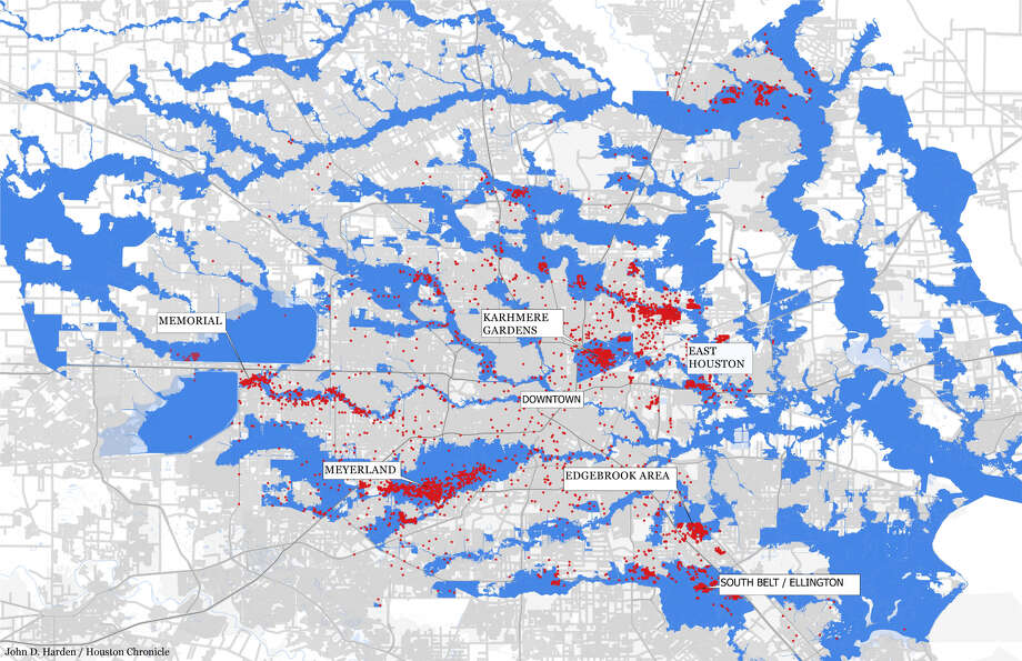 Flood Map Houston Mapped: In one Houston community, 80 percent of high water rescue