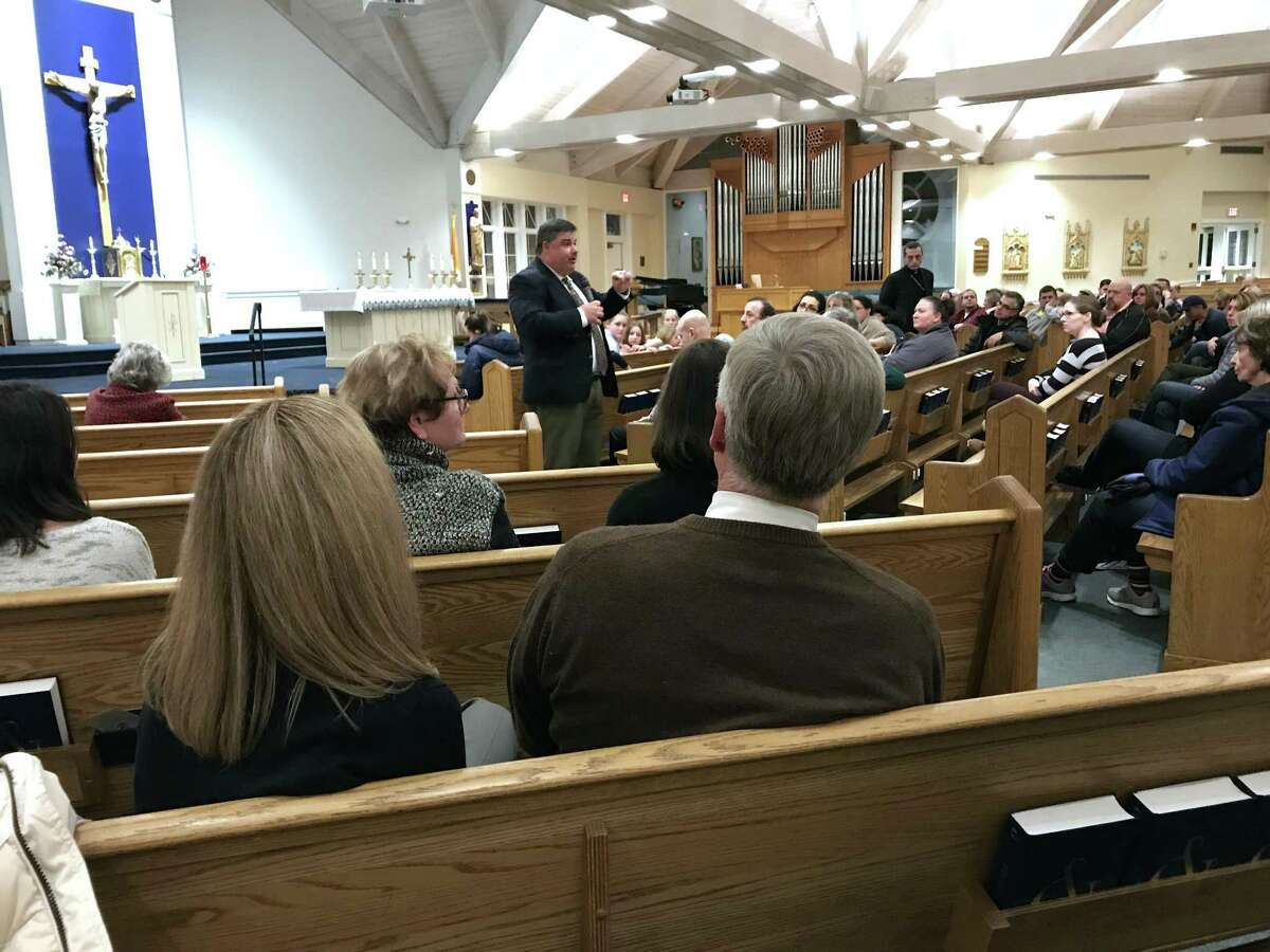 Steve Cheeseman, superintendent of the Diocese of Bridgeport Catholic schools, speaks at St. Joseph's School in Brookfield Thursday evening. Bishop Frank Caggiano has proposed changing the educational model at St. Joseph?'s School. Caggiano and Cheeseman made the announcement at the parish Thursday night, January 18, 2018.
