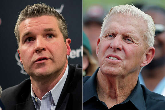 Texans general manager Brian Gaine, left, is a Bill Parcells acolyte after working for the retired coach and personnel boss with the Jets, Cowboys and Dolphins.