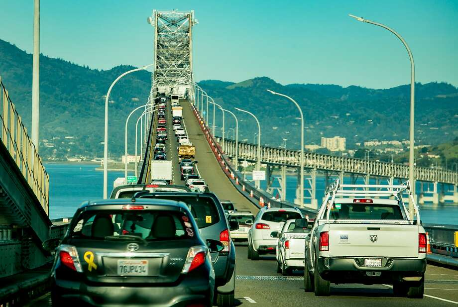 Vehicles move eastbound across the Richmond Bridge during rush hour in San Rafael on March 29. Photo: John Storey / Special To The Chronicle