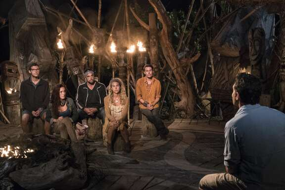 "MANA ISLAND - JUNE 23: ""Gotta Risk It For The Biscuit"" - Bradley Kleihege, Chelsea Townsend, Domenick Abbate, Libby Vincek, Donathan Hurley, and Jeff Probst at Tribal Council on the seventh episode of Survivor: Ghost Island, airing Wednesday, April 2 (8:00-9:01 PM, ET/PT) on the CBS Television Network. (Photo by Robert Voets/CBS via Getty Images)"