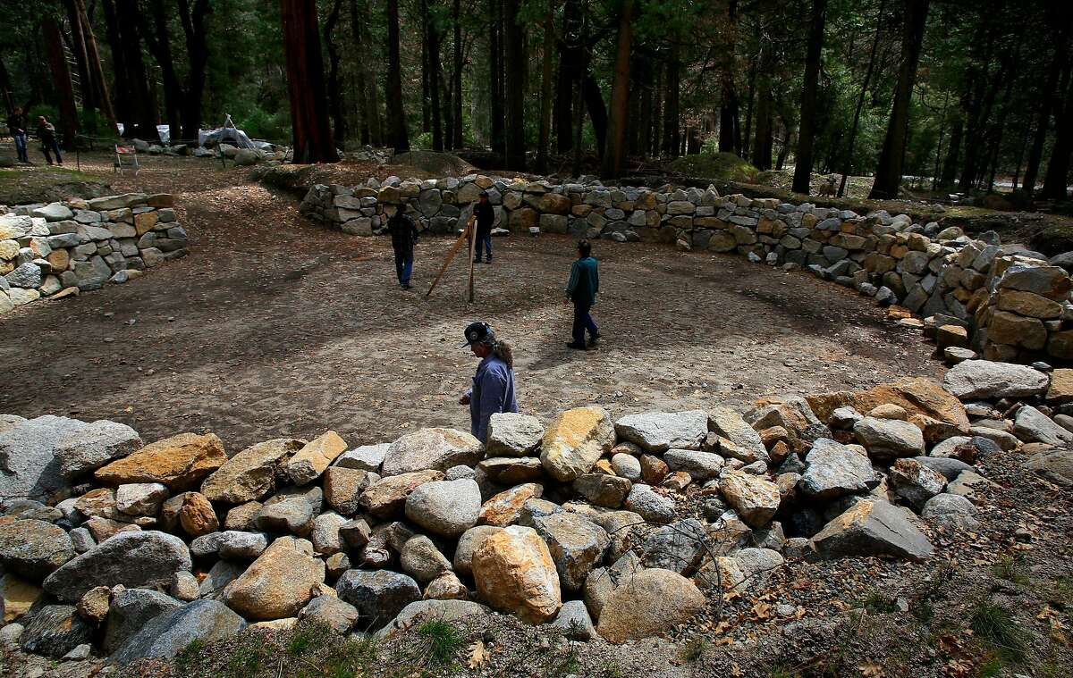 The construction site of the round house, as the Miwuk tribe of Native American Indians continue their quest of rebuilding the small village of their ancestors known as Wahhoga Village, on the valley floor of Yosemite National Park, Calif., as seen on Thurs. Mar. 29, 2018.
