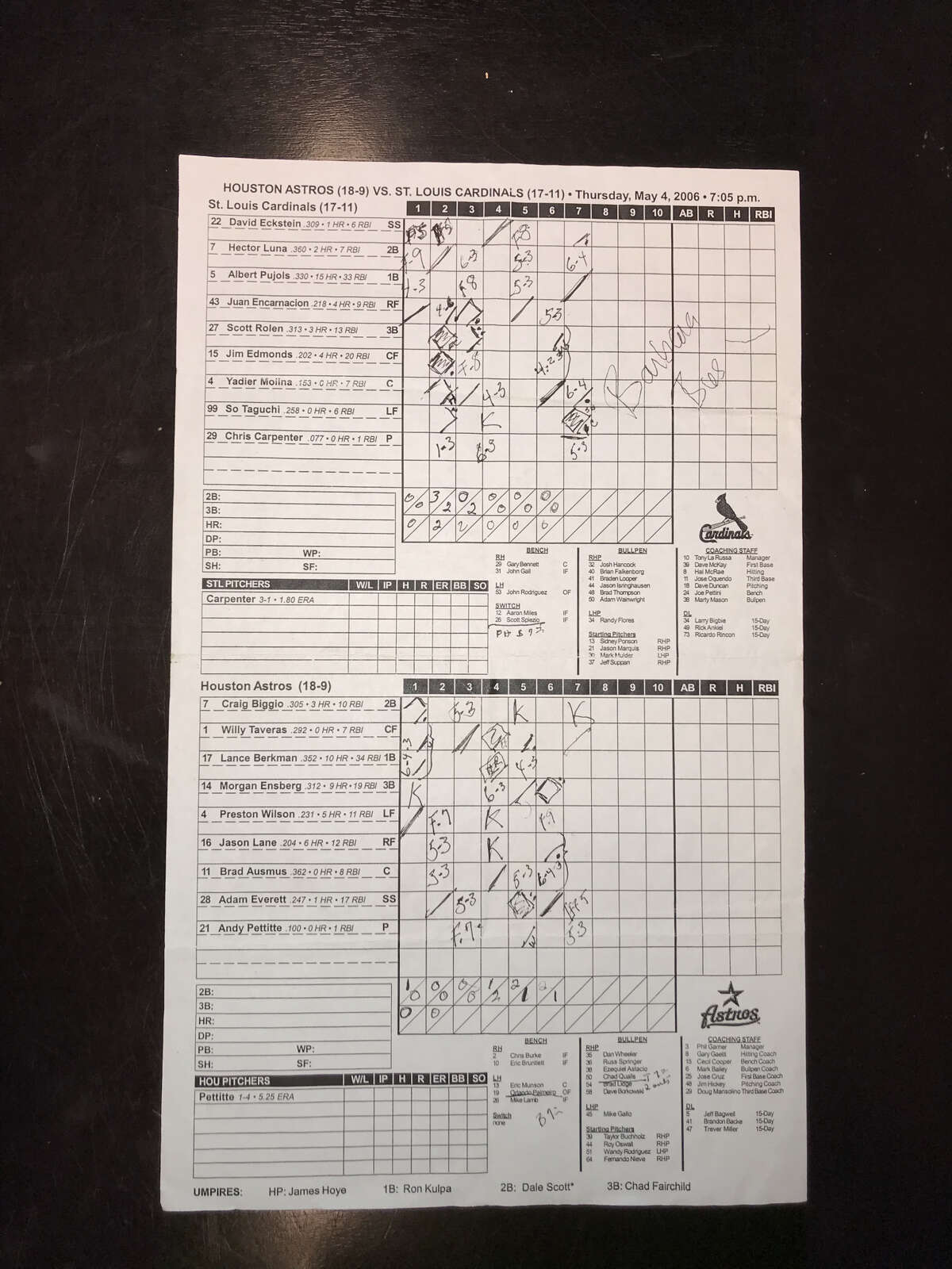 As a big fan of the Astros, Barbara Bush often kept score while at games. This is one of her scoresheets from 2006 that resides in the Astros archives. The Bushes usually left after the seventh inning. She signed this one.