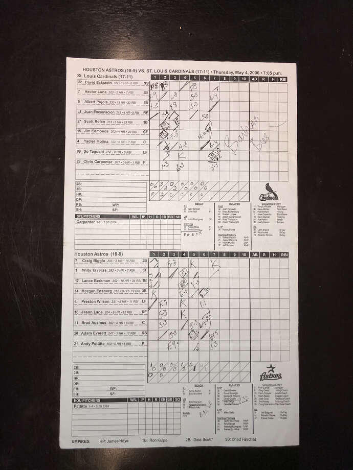 As a big fan of the Astros, Barbara Bush often kept score while at games. This is one of her scoresheets from 2006 that resides in the Astros archives. The Bushes usually left after the seventh inning. She signed this one. Photo: Courtesy Houston Astros