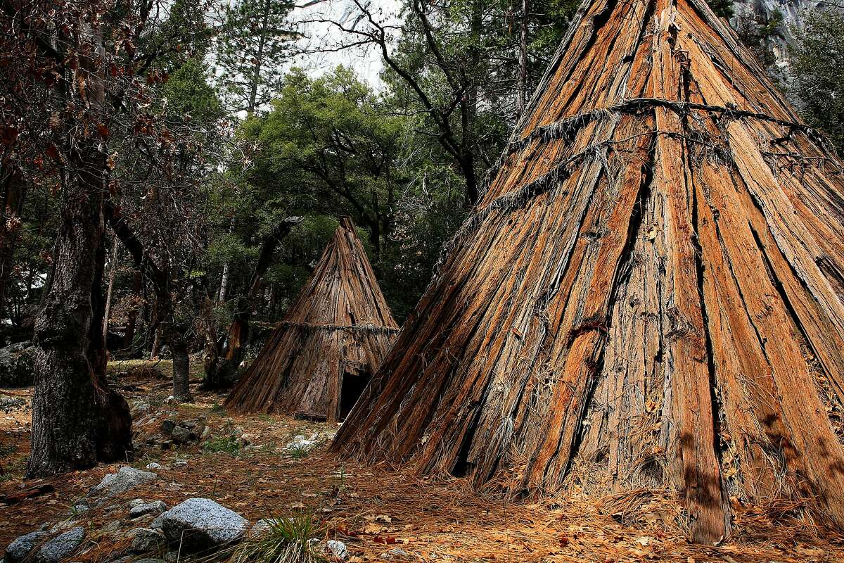 A few cedar bark house known as Umachas have been constructed on the site as the Miwuk tribe of Native American Indians continue their quest of rebuilding the small village of their ancestors known as Wahhoga Village, on the valley floor of Yosemite National Park, Calif., as seen on Thurs. Mar. 29, 2018.