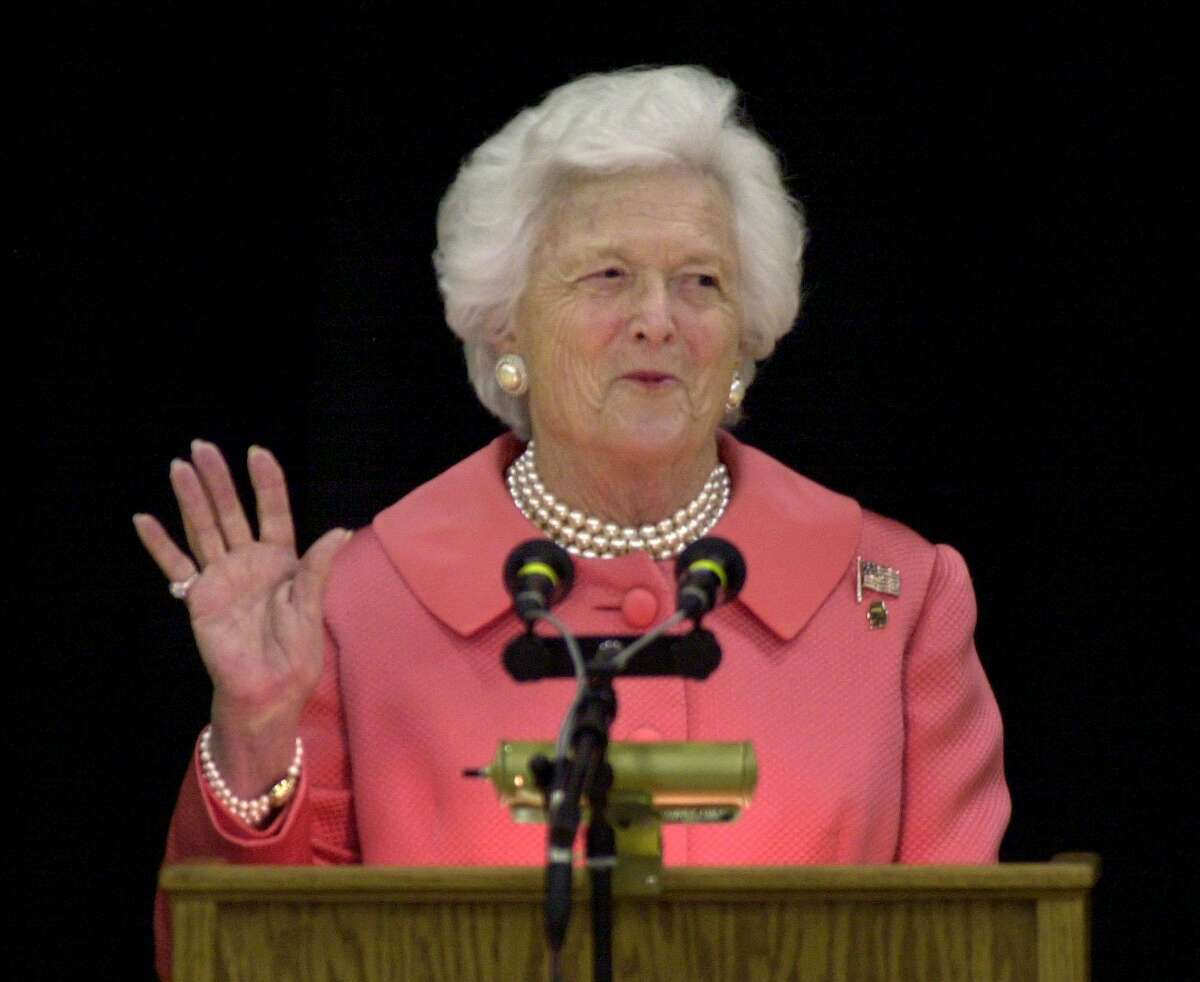 ** FILE ** Former first lady Barbara Bush is shown in this April 8, 2002, file photo. Don't mention Mother's Day around the former first lady. It turns out the woman who cultivated a maternal persona, with her trademark pearls and prim hairdo, hates the hoopla surrounding the annual celebration.