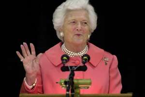 "** FILE ** Former first lady Barbara Bush is shown in this April 8, 2002, file photo. Don't mention Mother's Day around the former first lady. It turns out the woman who cultivated a maternal persona, with her trademark pearls and prim hairdo, hates the hoopla surrounding the annual celebration. ""She thinks it's gotten way too commercial,"" former President George H. Bush said in the current issue of Newsweek magazine, on newstands Monday, May 6, 2002.  AP Photo/Charlie Riedel, File).     HOUCHRON CAPTION (05/07/2002):  Bush."