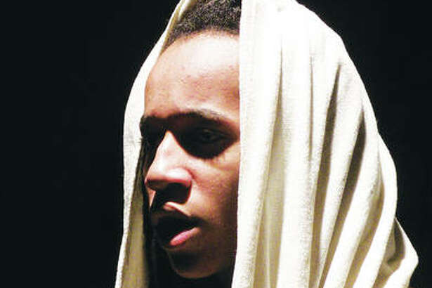 "Micah Showers as Jesus in Marquette Catholic High School's production of ""Jesus Christ Superstar."""