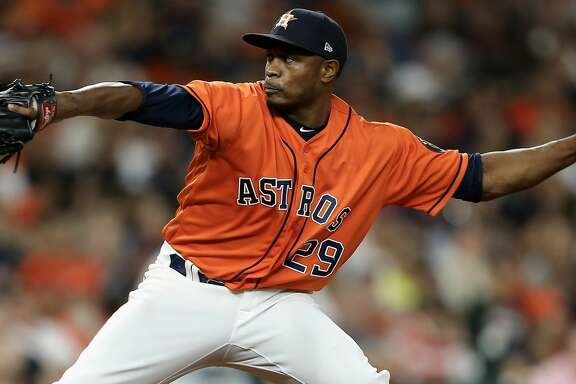 HOUSTON, TX - APRIL 06:  Tony Sipp #29 of the Houston Astros pitches in the sixth inning against the San Diego Padres at Minute Maid Park on April 6, 2018 in Houston, Texas.  (Photo by Bob Levey/Getty Images)