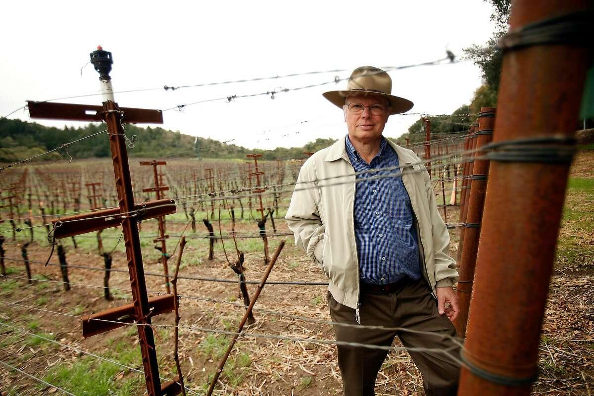 Winemaker David Heitz stands in the Grignolino plantings at Heitz Wine Cellars in St. Helena in 2014.