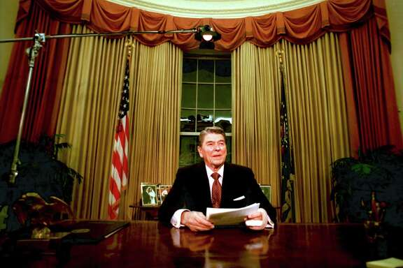 Departing U.S. President Ronald Reagan is seen shortly after he delivered his farewell address to the nation at the Oval Office in the White House on Jan. 12, 1989.