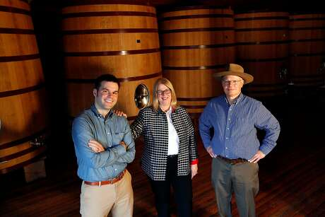 From left, Harrison Heitz, his aunt Kathleen Heitz Myers, and his father David Heitz at Heitz Cellar in St. Helena, Calif., on Tuesday, March 4, 2014.
