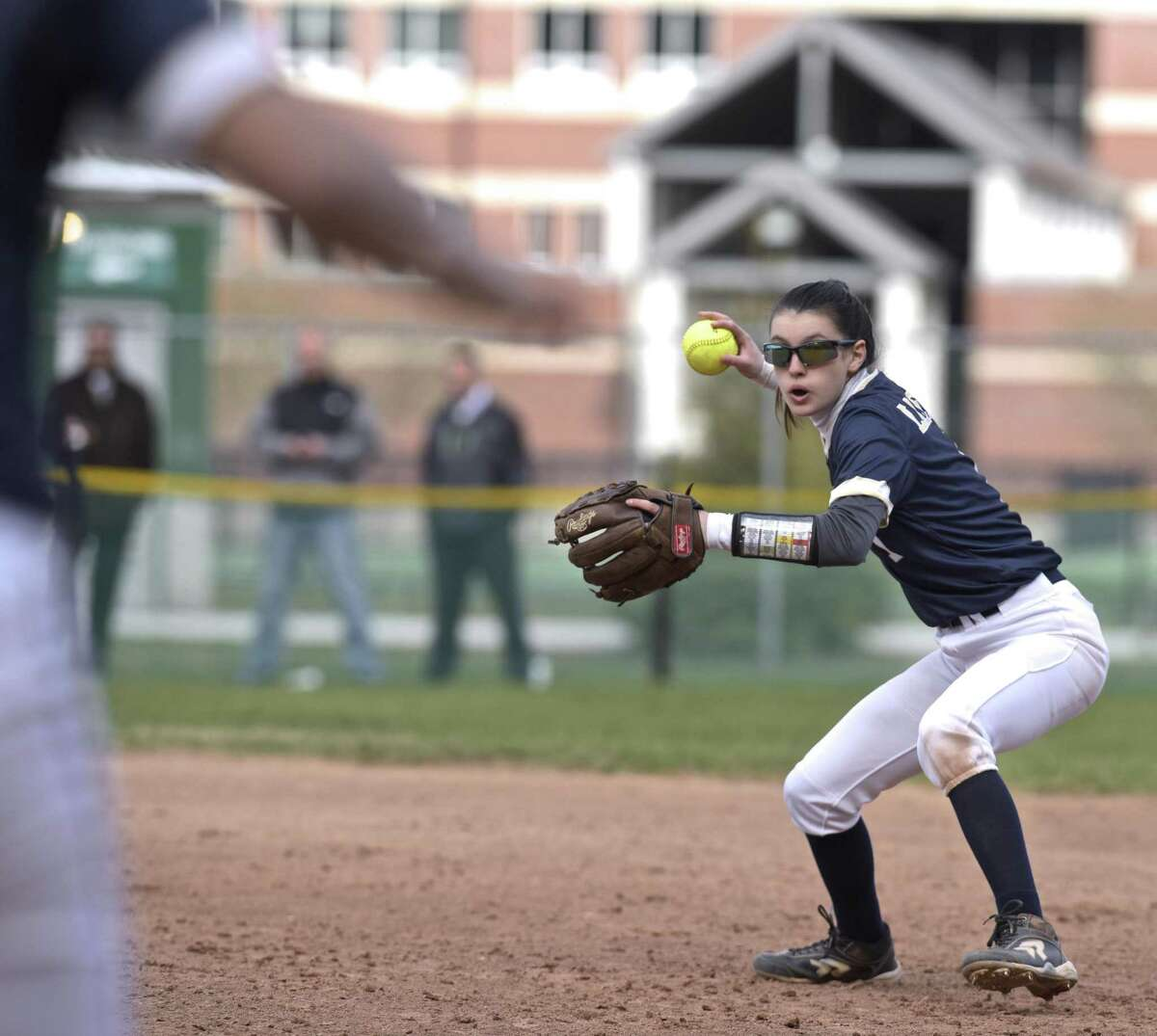 Notre Dame's Jillian Howe (1) gets set to throw to first for the out in the girls softball game between Notre Dame - Fairfield and New Milford high schools, Wednesday afternoon, April 18, 2018, at New Milford High School, New Milford, Conn.