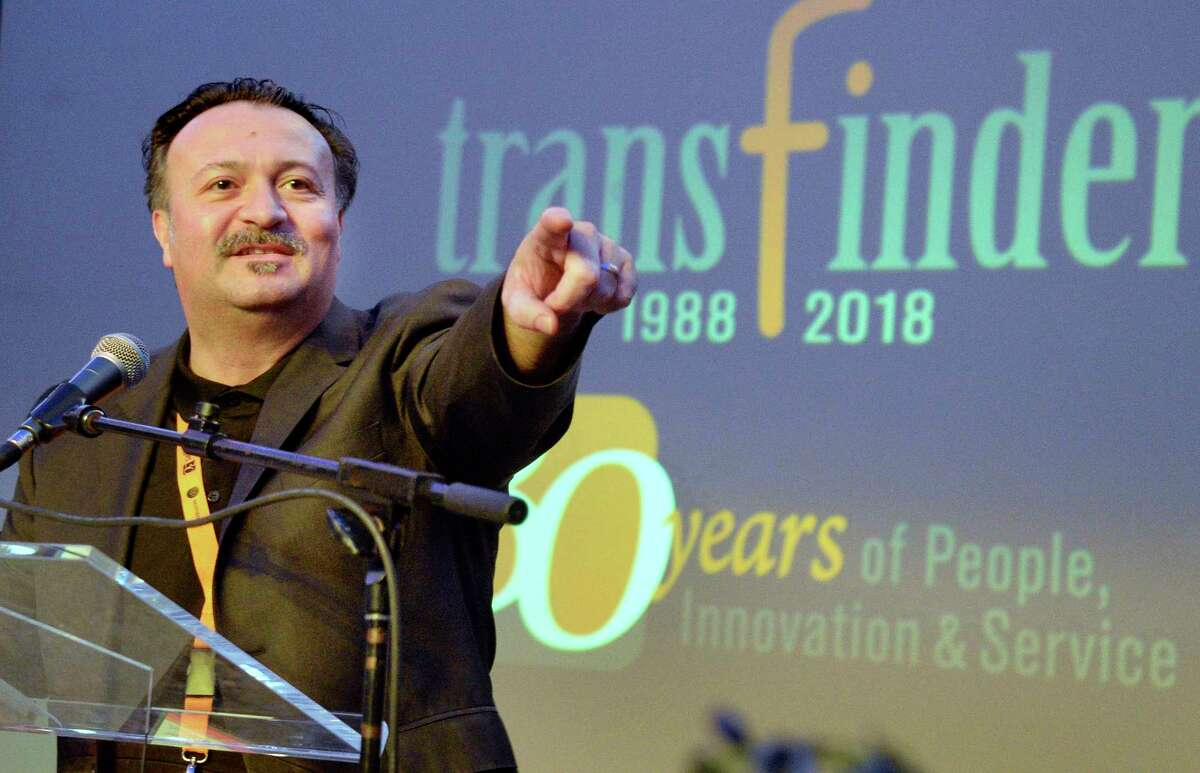 CEO Tony Civitella speaks during Transfinder's annual client conference at the Albany Capital Center Wednesday April 18, 2018 in Albany, NY. (John Carl D'Annibale/Times Union)