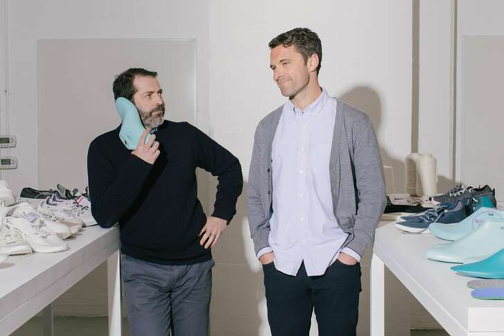 Joey Zwillinger and Tim Brown, Founders of Allbirds, in the Allbirds prototyping studio on Hotaling Place, in San Francisco, California, on March 26th, 2018.