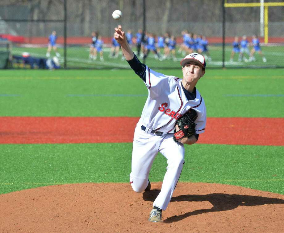 Brien McMahon's Korey Morton on the mound against Darien in Wednesday's game. Photo: Alex Von Kleydorff / Hearst Connecticut Media / Norwalk Hour