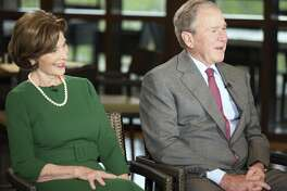 """Former President George W. Bush and Laura Bush are interviewed by host Maria Bartiromo on the """"Mornings with Maria Bartiromo"""" program on the Fox Business Network at the George W. Bush Presidential Library, Wednesday, April 18, 2018, in Dallas."""